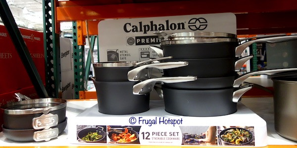 Calphalon Premier Hard Anodized Nonstick Space-Saving 12-Piece Cookware Costco Display
