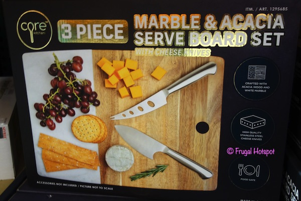 Core Kitchen Marble & Acacia Cheese Serve Board Set Costco
