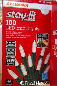 Sylvania Stay-Lit Mini White Lights 100-count Costco
