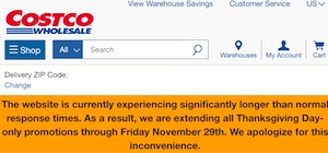 Costco Nov 28 2019 Website Delay