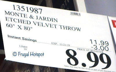 Monte & Jardin Velvet Throw Costco Sale Price