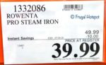 Rowenta Pro Steam Iron Costco Sale Price