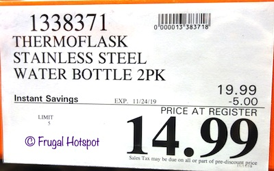 ThermoFlask Stainless Steel Water Bottle Costco Sale Price