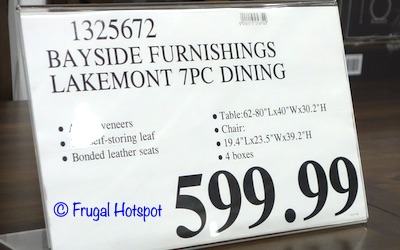 Bayside Furnishings Lakemont 7-Piece Dining Set Costco Price