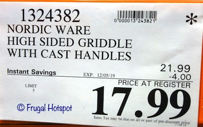 Nordic Ware High Sided Double Burner Griddle Costco Sale Price