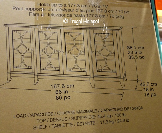 Northridge Home Vega 66 Accent Console Dimensions Costco