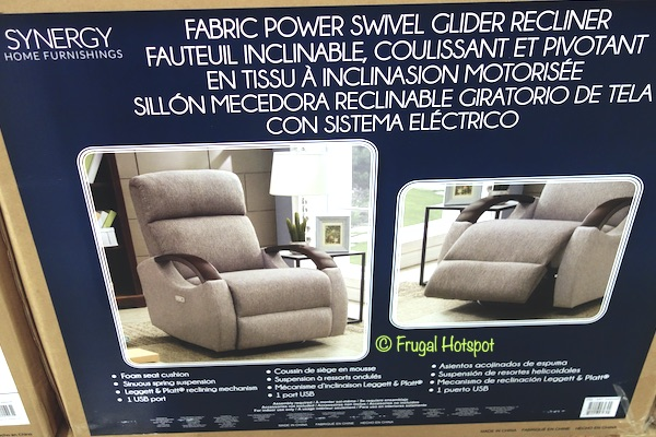 Synergy Home Fabric Power Swivel Glider Recliner Costco