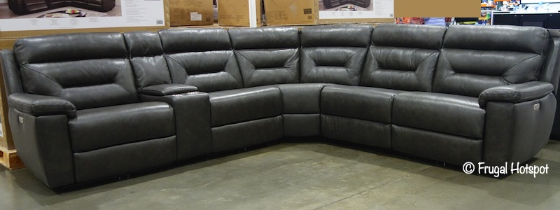Corry Leather Power Reclining 6-Pc Sectional Costco Display