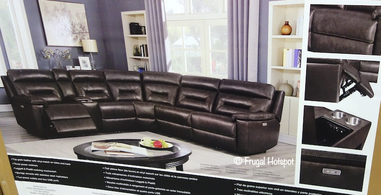Corry Leather Power Reclining 6-Pc Sectional Costco