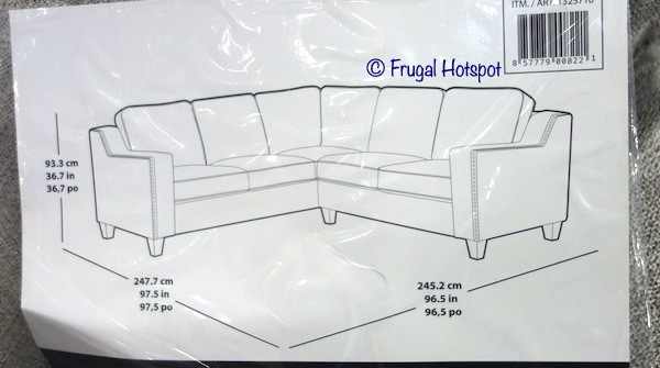 Ellendale Fabric Sectional Dimensions Costco