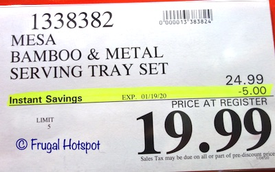 Mesa Bamboo and Metal Serving Tray Set Costco Sale Price