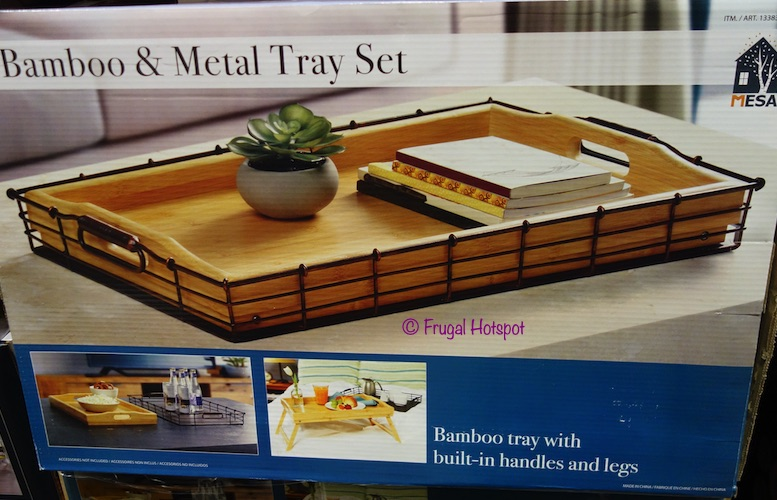 Mesa Bamboo and Metal Serving Tray Set Costco