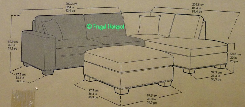 Thomasville Fabric Sectional with Ottoman Dimensions Costco