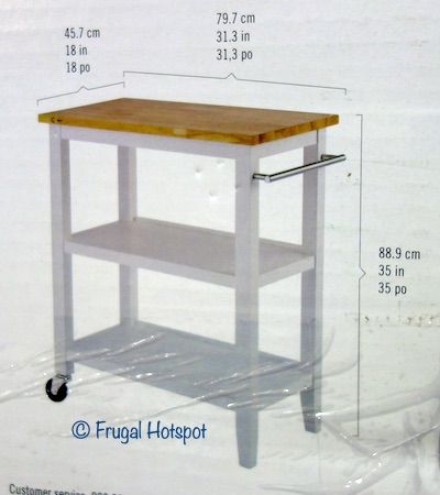 Trinity 3-Tier Wood Kitchen Cart Dimensions Costco