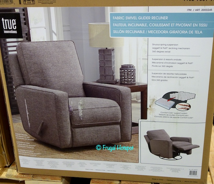 True Innovations Gray Fabric Swivel Glider Recliner Costco