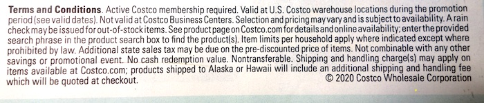 Costco February 2020 Coupon Book Terms Conditions