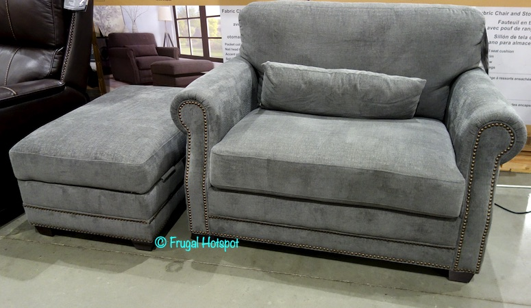 Fabric Chair with Storage Ottoman Costco Display