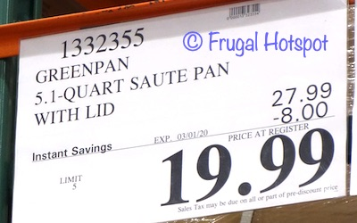 GreenPan Jumbo 5-Quart Saute Pan Costco Sale Price