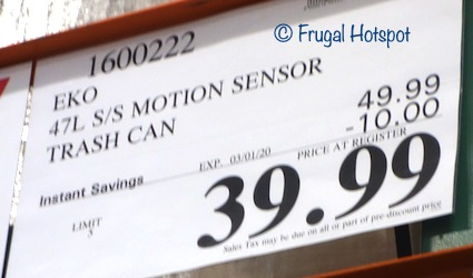 Sensible Eco Living Motion Sensor Trash Can Costco Sale Price