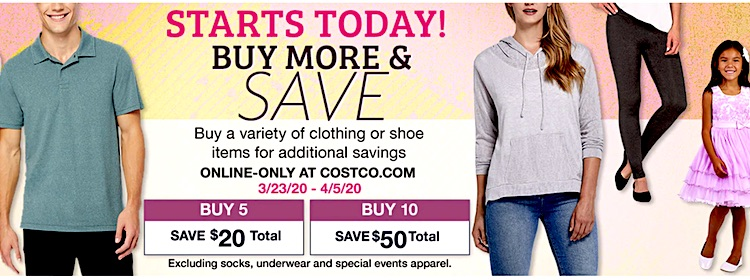 Costco Online Clothing Shoe Sale March 2020