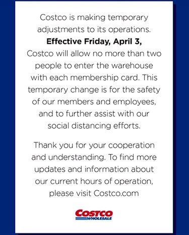 Costco's Updated Guest Shopping Policy April 2020