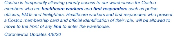 Costco's healthcare worker and first responder policy April 2020