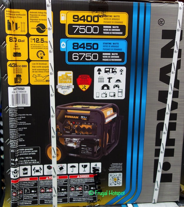 Firman Power Dual Fuel Generator Costco