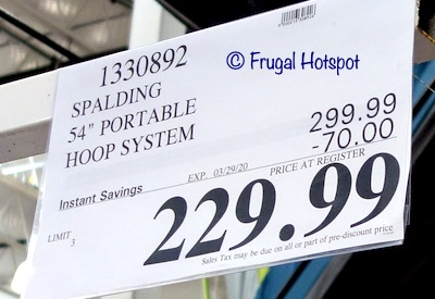 Spalding 54 Portable Basketball Hoop System Costco Sale Price