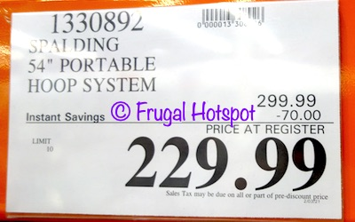Spalding Portable Basketball Hoop System | Costco Sale Price