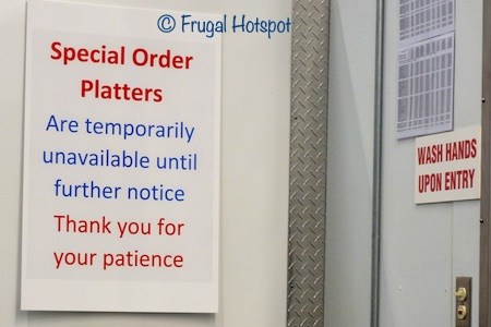 Special order platters are temporarily unavailable at Costco. April 2020