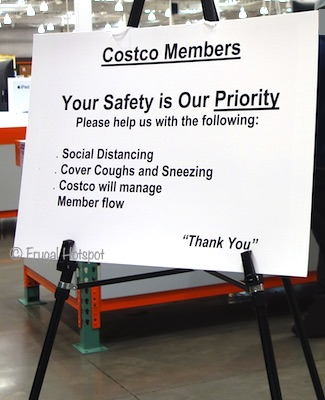 The Impact of Coronavirus at Costco (Social Distancing sign) March 17 2020