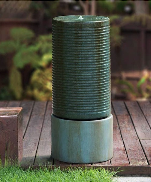 Modern Ribbed Self-Contained Outdoor Fountain Costco