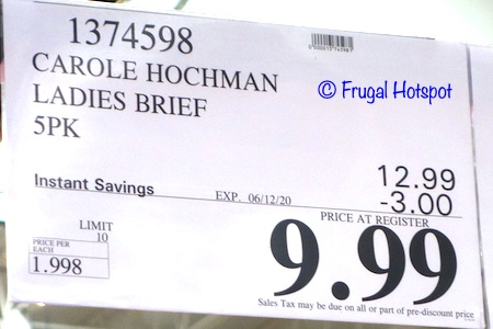 Carole Hochman Ladies Brief Costco Sale Price