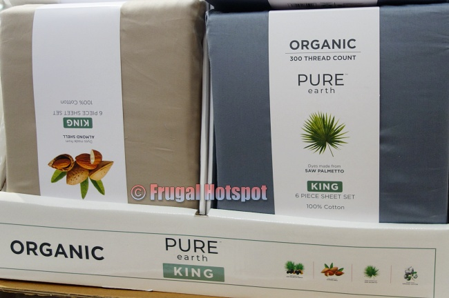 Pure Earth Organic Cotton Sheet Set beige and blue | Costco