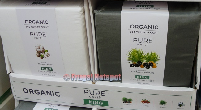 Pure Earth Organic Cotton Sheet Set olive green and white | Costco