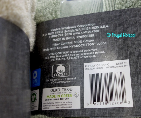 Purely Organic Hand Towel Wash Cloth Costco
