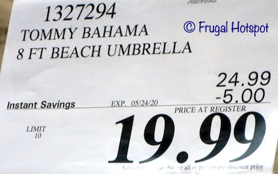 Tommy Bahama 8' Beach Umbrella Costco Sale Price
