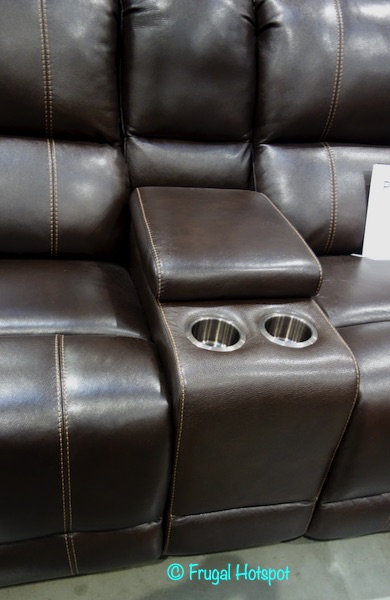 Pulaski Dunhill Leather Power Reclining Sectional Cupholders Costco Display