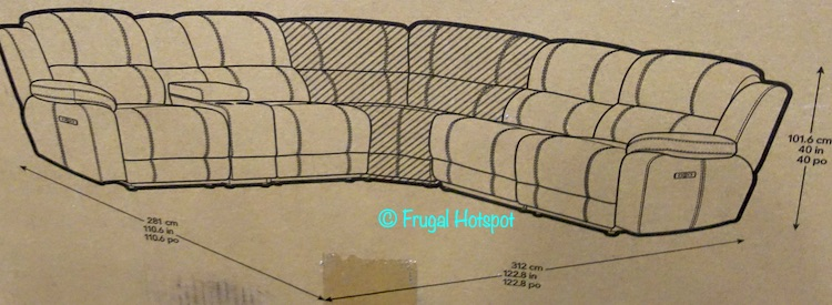 Pulaski Dunhill Leather Power Reclining Sectional Dimensions Costco