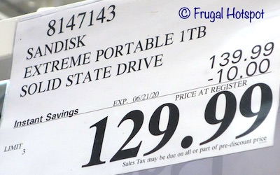 SanDisk Extreme Portable 1TB Solid State Drive Costco Sale Price