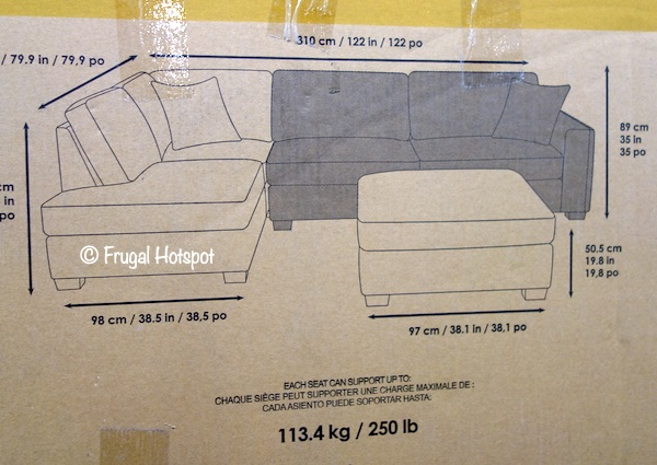 Synergy Home Maycen Fabric Sectional Dimensions Costco