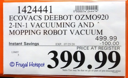 ECOVACS DEEBOT OZMO 920 Vacuum and Mopping Robot Costco Sale Price