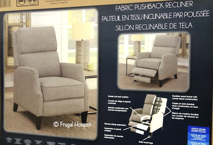 Synergy Home Lia Fabric Pushback Recliner Costco