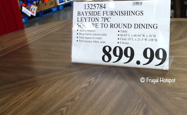 Bayside Furnishings Leyton 7-Pc Square to Round Dining Set Costco Price