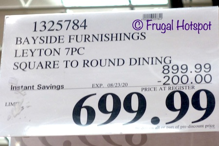 Bayside Furnishings Leyton 7-Piece Square to Round Dining Set Costco Sale Price