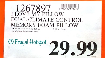 I Love My Pillow Climate Control Dual Sided Reversible Comfort Memory Foam Pillow COSTCO PRICE