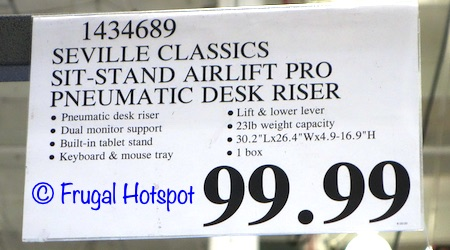 Seville Classics airLIFT Sit-to-Stand Desk Riser | Costco Price