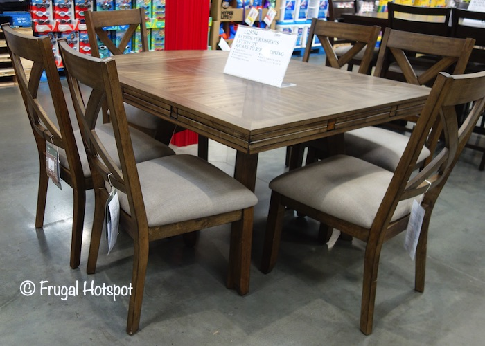 Whalen Bayside Furnishings Leyton 7-Pc Square to Round Dining Set Costco Display 2