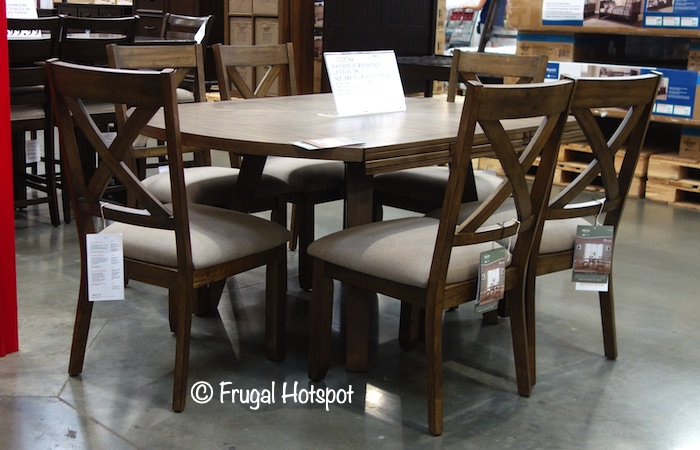 Whalen Bayside Furnishings Leyton 7-Pc Square to Round Dining Set Costco Display