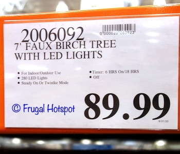 7' Faux Birch Tree with LED Lights 2020 | Costco Price